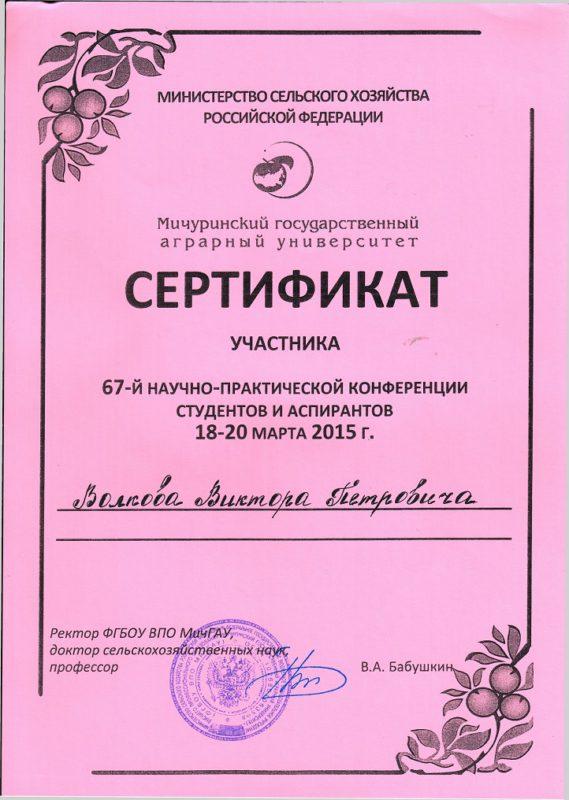 Сертификат участника в научно-практической конференции
