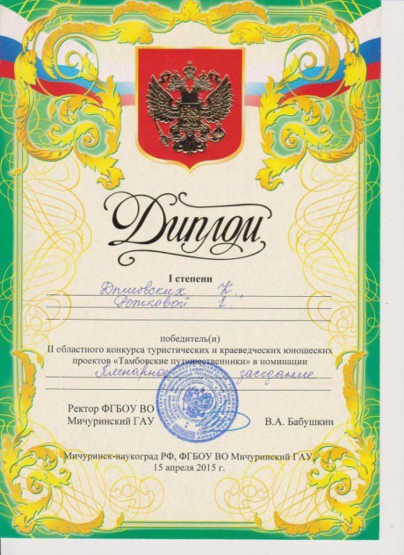 Диплом 1 степени за II Областной конкурс туристических и краеведческих юношеских проектов «Тамбовские путешественники» 15 апреля 2015 года