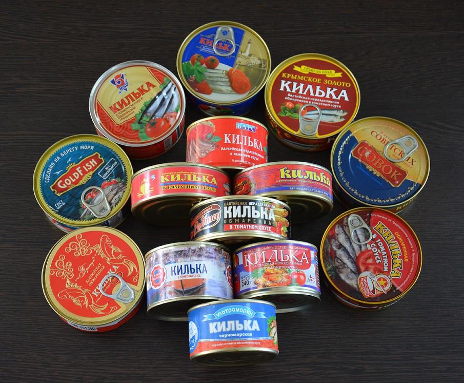 """Ассортимент рыбных консервов """"Килька в томатном соусе"""""""