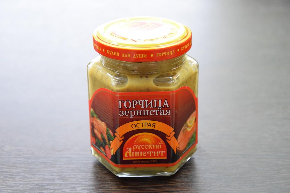 ООО компания «Витекс» горчица зернистая острая ТМ «Русский аппетит»